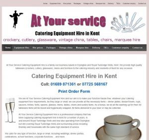 web hosting for At Your Service Catering Equipement Hire in Kent