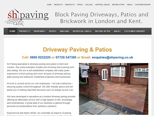 web hosting for SH Paving Driveways London & Kent