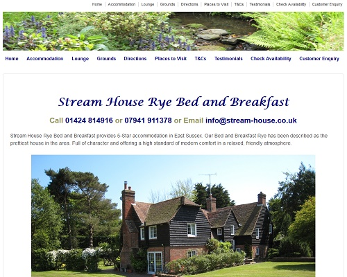 web hosting for Stream House B&B Rye